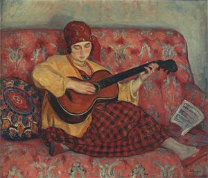 Henri Lebasque - Young Girl with Guitar