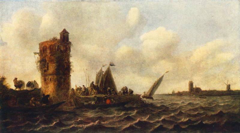 famous painting A View on the Maas near Dordrecht of Jan Van Goyen
