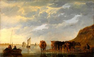 Aelbert Jacobsz Cuyp - A Herdsman with Five Cows by a River