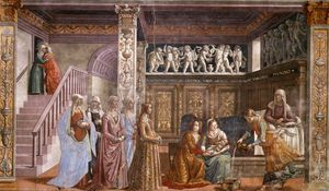 Domenico Ghirlandaio - 1.leftt wall - Birth of Mary