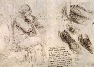Leonardo Da Vinci - Study of an old man - study of water