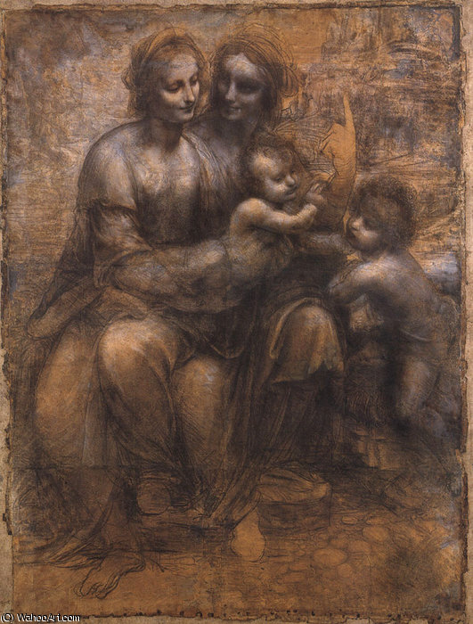 famous painting Cartoon of the Virgin and Child with St Anne and St John of Leonardo Da Vinci