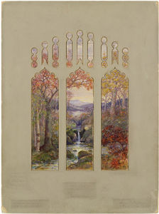 Louis Comfort Tiffany - Design for Autumn Landscape Window