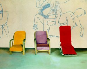 David Hockney - 3 chairs picasso