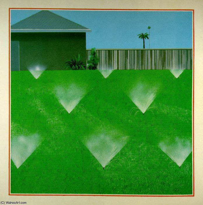 famous painting Lawn sprinkled of David Hockney