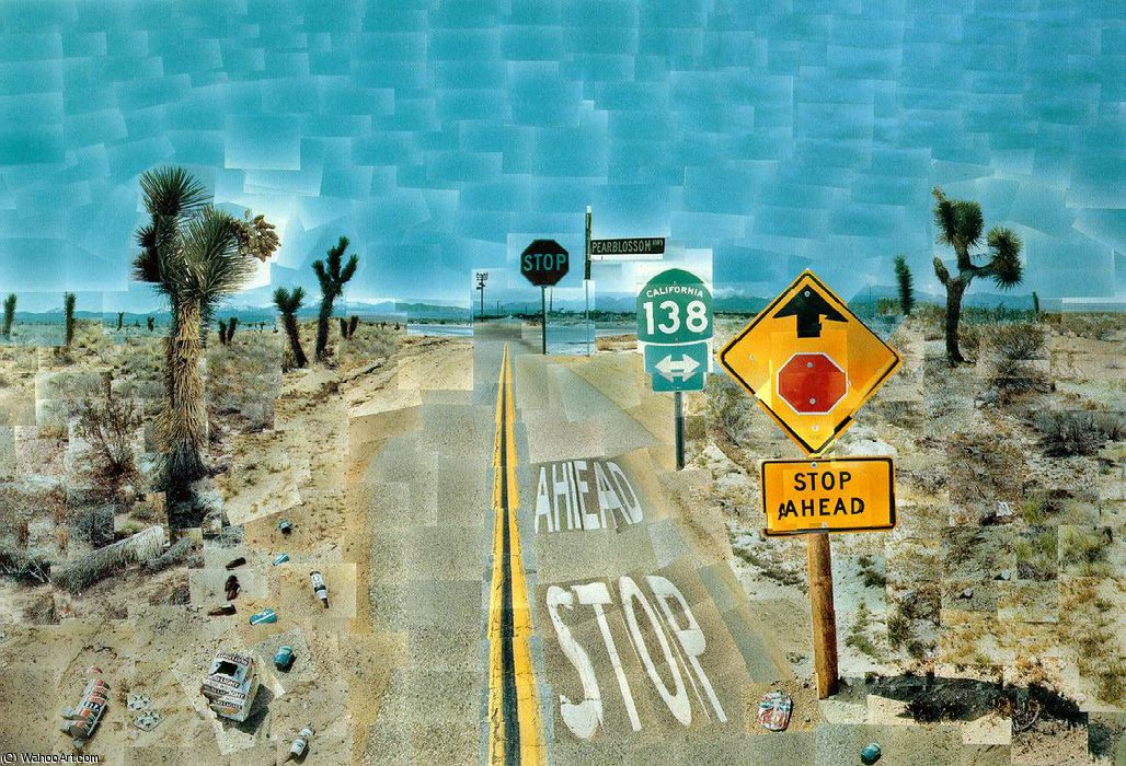 famous painting Pearblossom highway of David Hockney