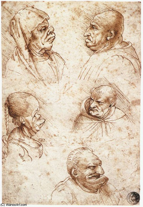 famous painting head studies-Five caricature heads of Leonardo Da Vinci