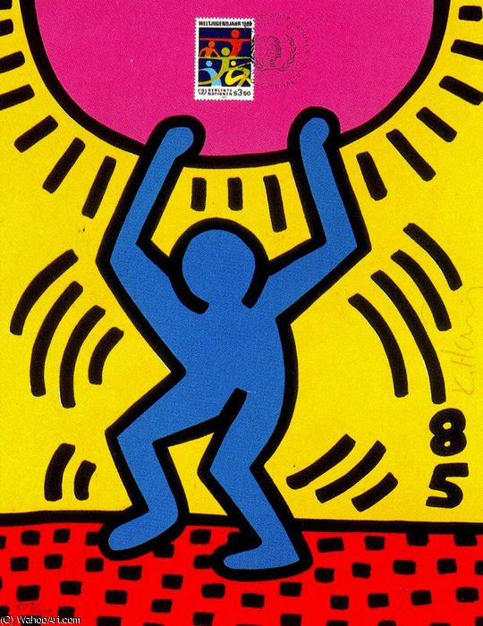 famous painting Untitled (563) of Keith Haring