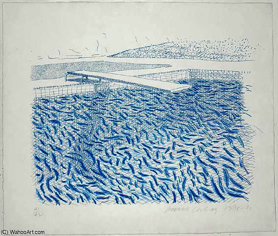 famous painting Lithographic Water Made of Lines and Crayon of David Hockney
