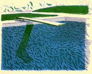 David Hockney - Lithographic Water Made of Lines, Crayon ^ a Blue Wash