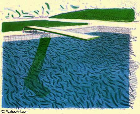 famous painting Lithographic Water Made of Lines, Crayon ^ a Blue Wash of David Hockney