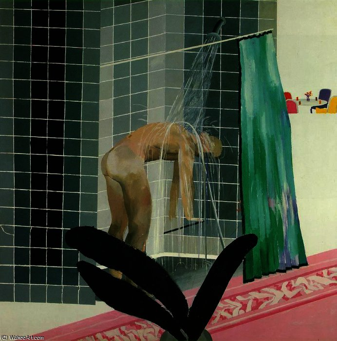 famous painting Man Taking Shower in Beverly Hills of David Hockney