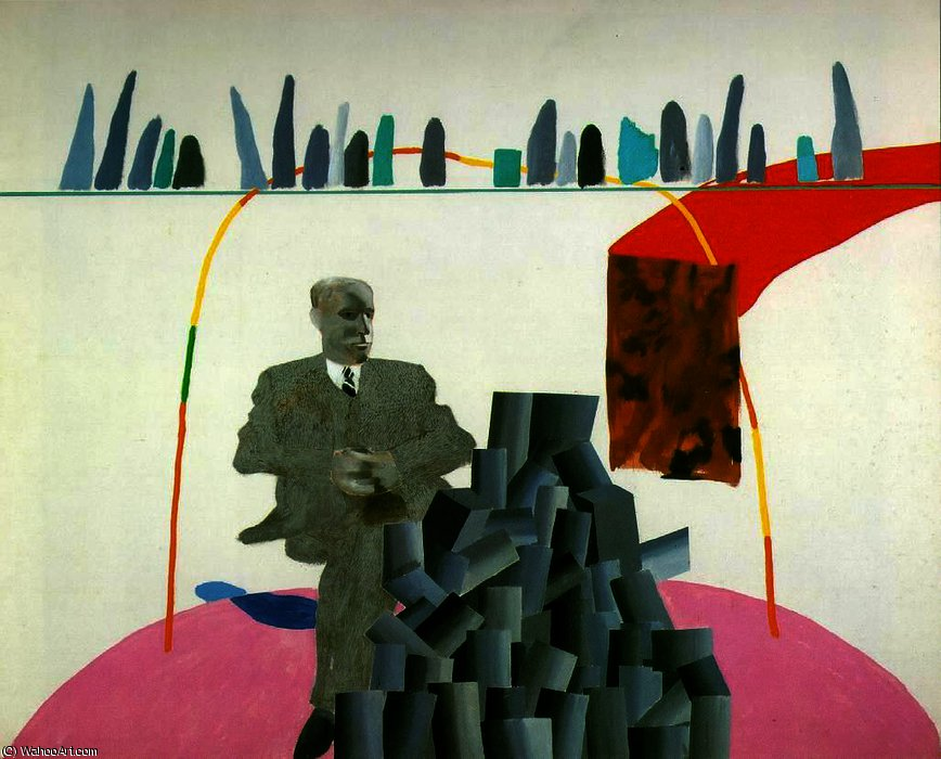famous painting Portrait Surrounded by Artistic Devices of David Hockney