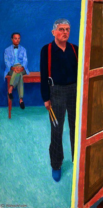 famous painting Self Portrait with Charlie of David Hockney