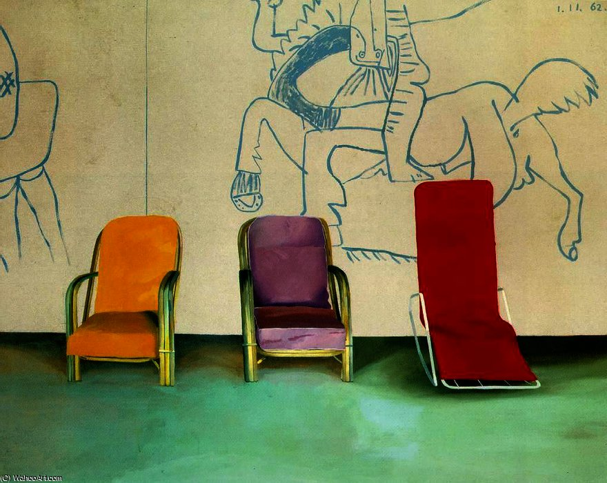 famous painting Three Chairs with a Section of a Picasso Mural of David Hockney