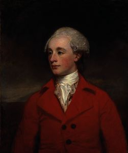 George Romney - Portrait of mr morley, half-length, in a red coat