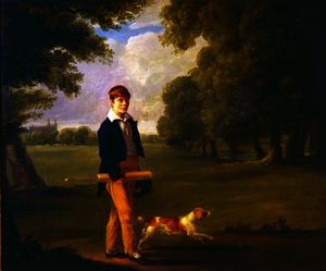 Ramsay Richard Reinagle - Young Man with a Cricket Bat Walking a Spaniel