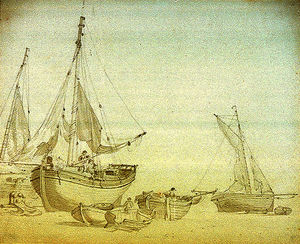 Nicholas Pocock - Men working on beached fishing vessels