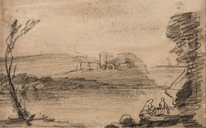 John Sell Cotman - Ruin on a Lake, in the Manner of Richard Wilson