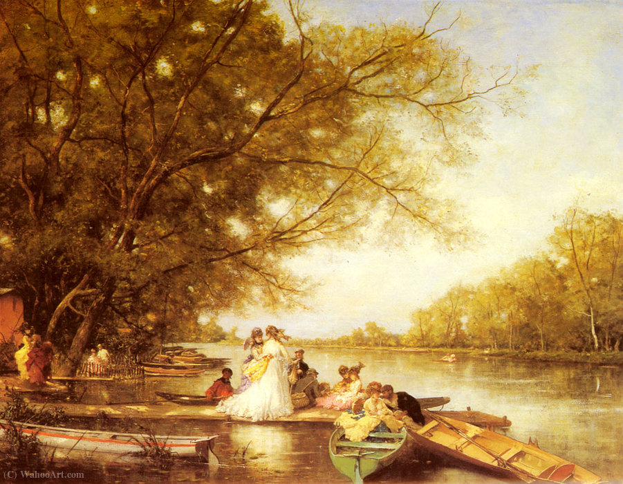 famous painting Boating party on the thames of Ferdinand Heilbuth