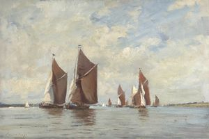 Edward Seago - Barges Race on the Orwell