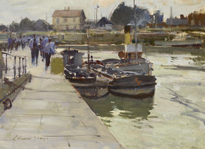 Edward Seago - Boats by the Quay