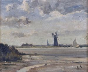 Edward Seago - The big mill, breydon water