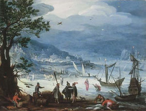 Anthonie Mirou - A coastal landscape with fishing boats and peasants disembarking, the Calling of Saint Peter beyond