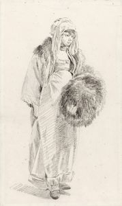 Jean Baptiste Le Prince - A young woman in russian costume, holding a large fur muff