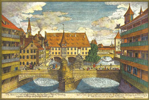 Johann Adam Delsenbach - Bridge over the Pegnitz