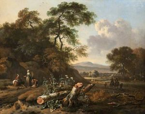 Johannes Lingelbach - Landscape with a Fallen Tree, Peasants and Huntsmen