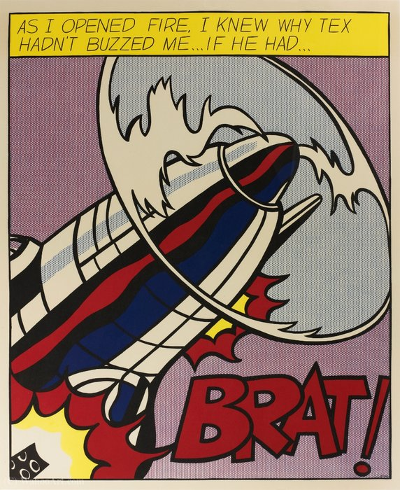 famous painting As I opened fire, I knew why tex hadn't buzzed me... if he had... of Roy Lichtenstein