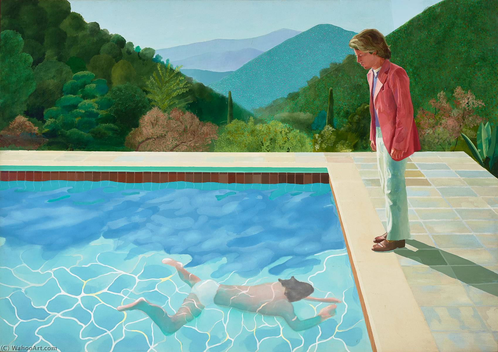 famous painting Portrait of an artist pool with two figures of David Hockney
