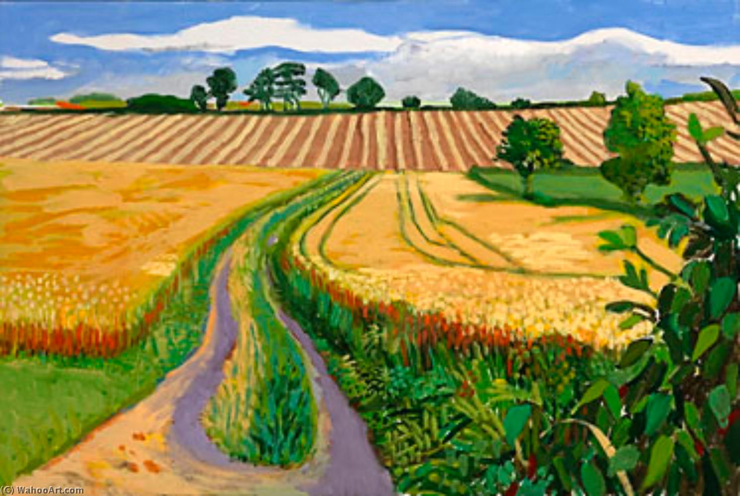 famous painting Path through wheat field of David Hockney