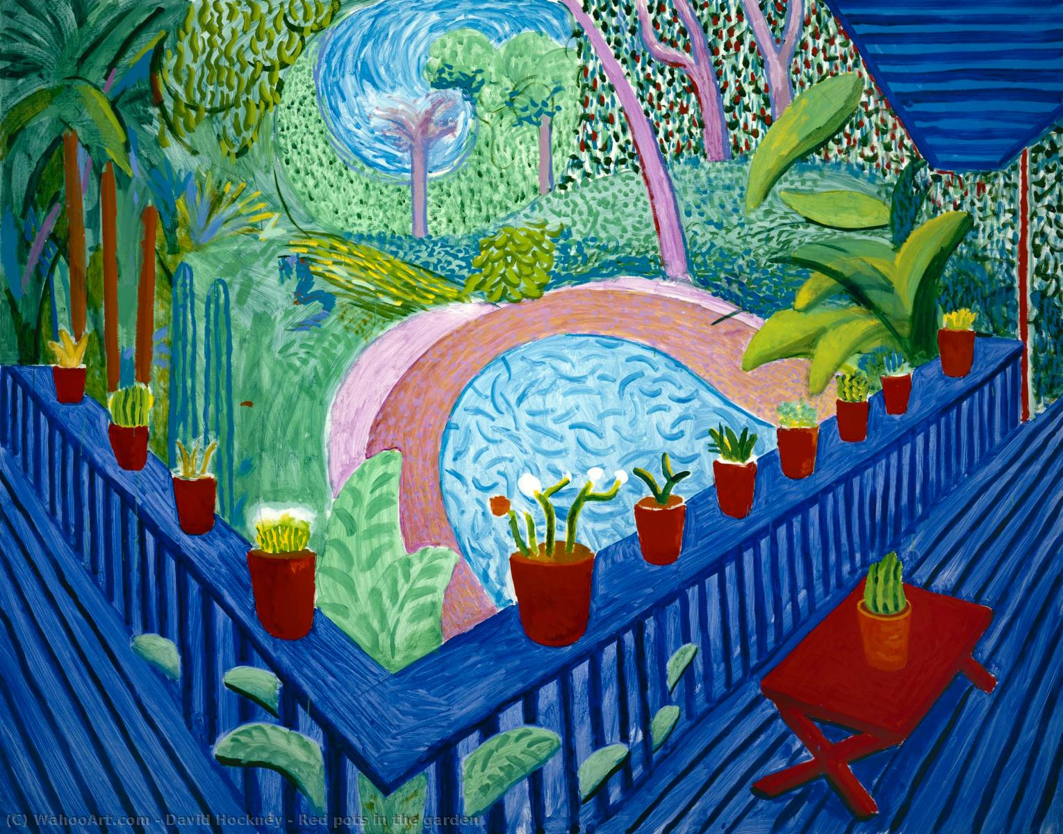 famous painting Red pots in the garden of David Hockney