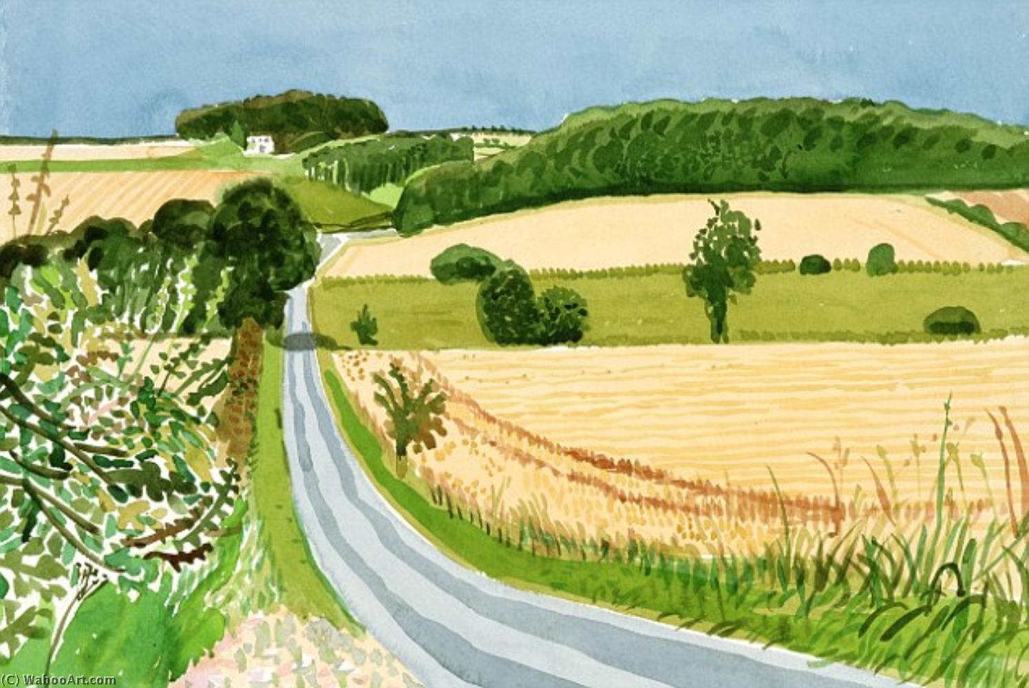 famous painting Roads and Cornfields, East Yorkshire of David Hockney
