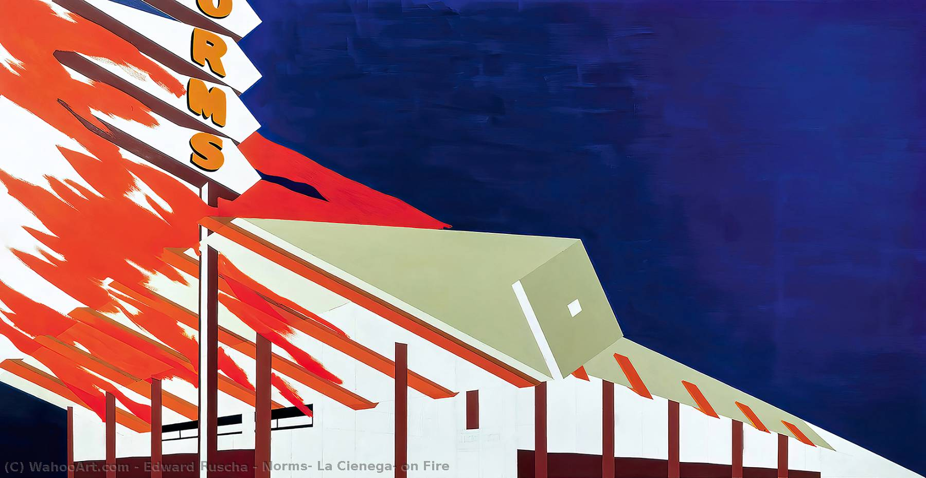 Buy Museum Art Reproductions Pop Art : Norms, La Cienega, on Fire by Edward Ruscha | BuyPopArt.com