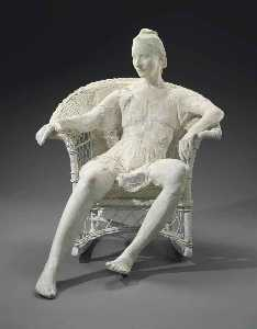 George Segal - Woman on White Wicker Chair