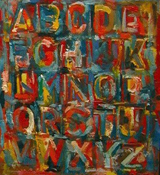 famous painting Colored alphabet of Jasper Johns