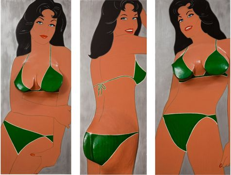 famous painting Green triptych of Marjorie Strider