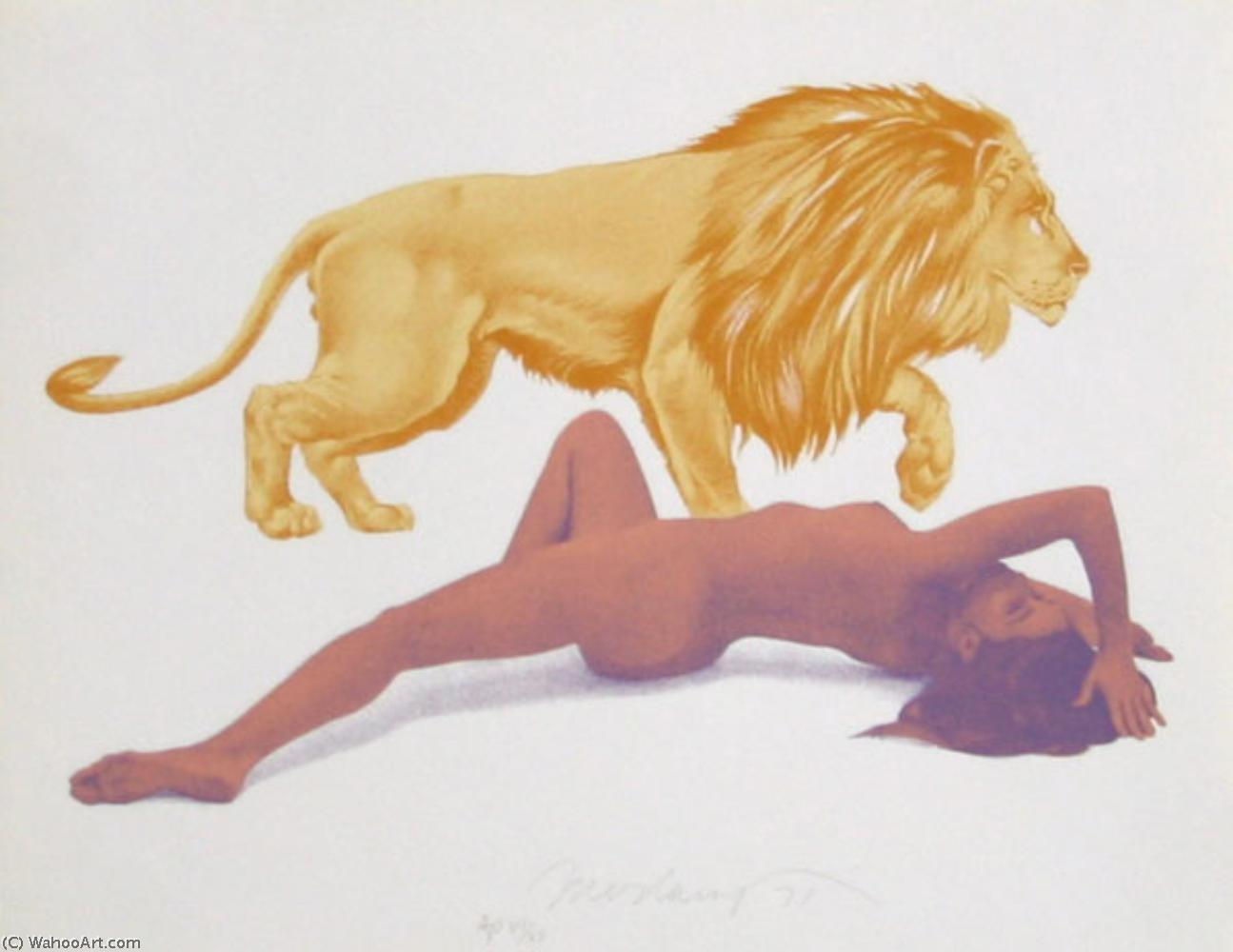 famous painting Lady and the Lion of Mel Ramos