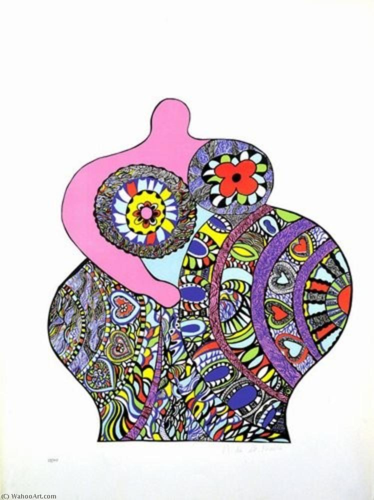 famous painting Multicoloured and pink Nana of Niki De Saint Phalle