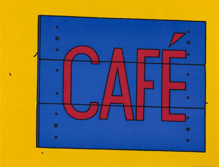 famous painting Cafe sign of Patrick Caulfield