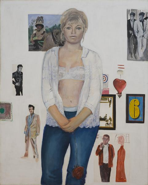 famous painting Celia birtwell and some of her heroes of Pauline Boty