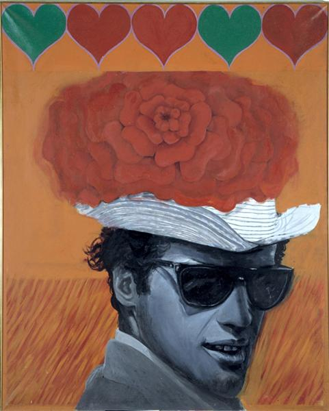 famous painting With love to jean paul belmondo of Pauline Boty