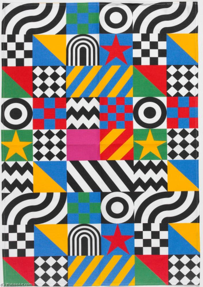 famous painting Everybody razzle dazzle tea towel of Peter Blake
