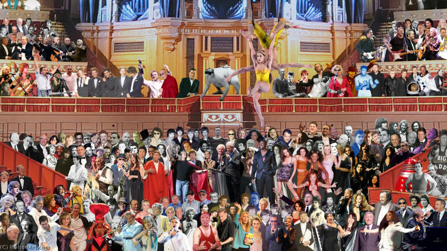 famous painting One Direction, Beyonce and Russell Brand join The Beatles in Peter Blake's updated Sgt Pepper mural at Royal Albert Hall of Peter Blake