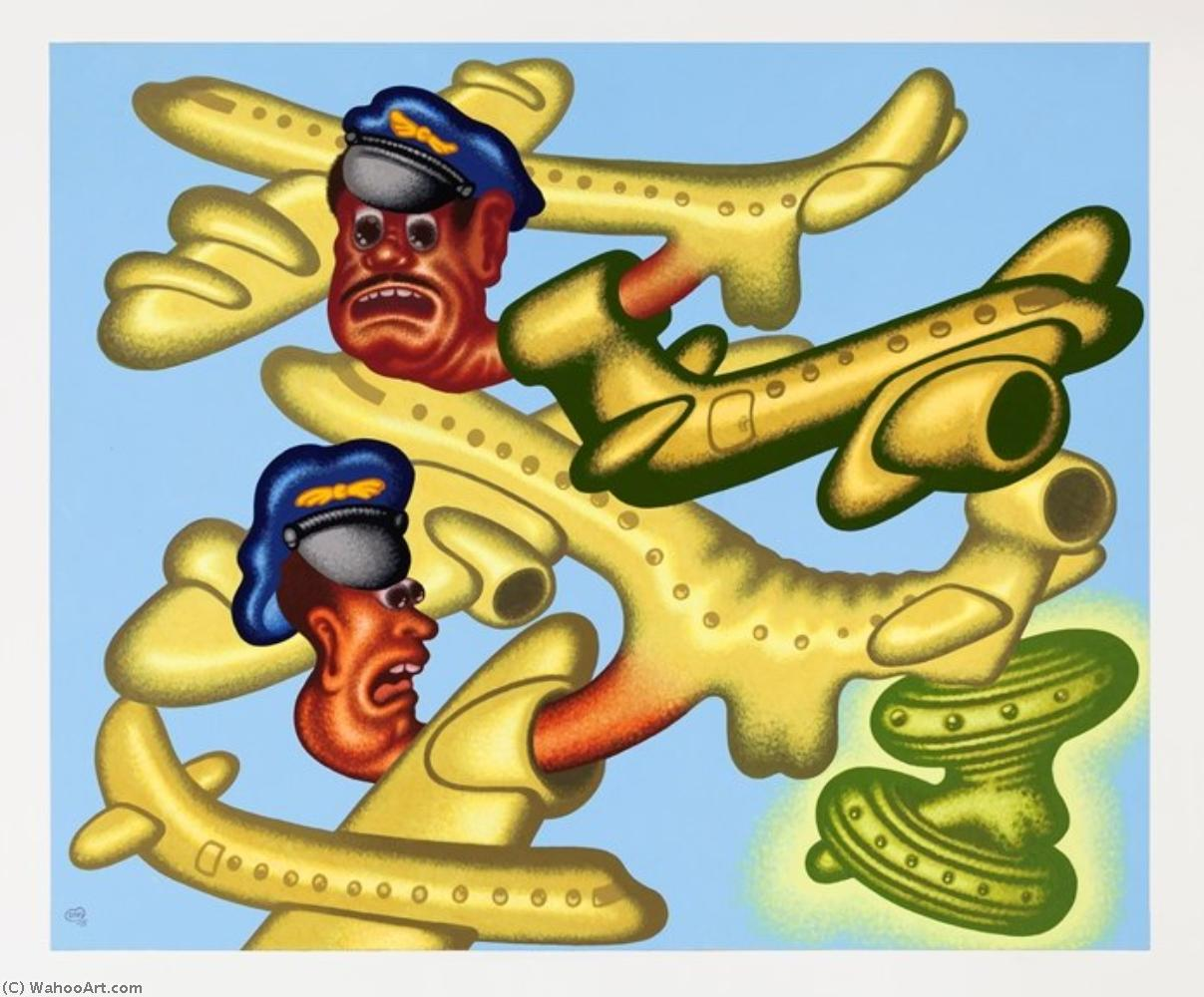 famous painting Crowded skies of Peter Saul