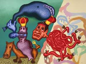 Peter Saul - Neptune and the Octopus Painter