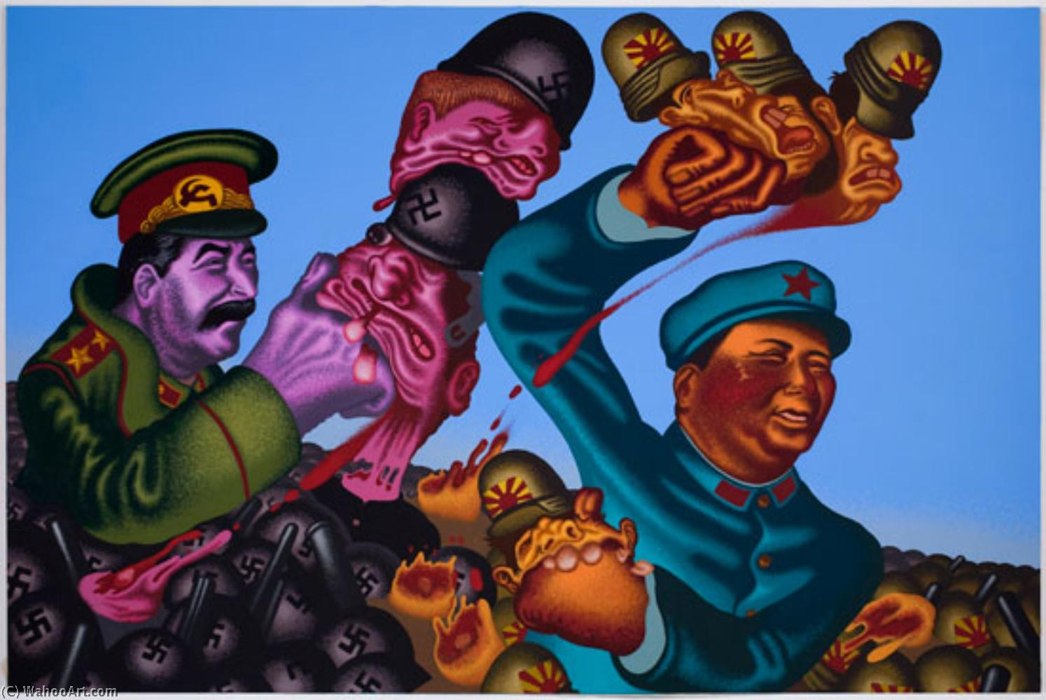 famous painting Stalin + mao of Peter Saul